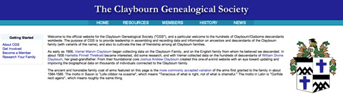 Claybourn Genealogical Society website