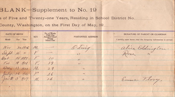 Arline Mills School Census - 1913 - page 2 - right