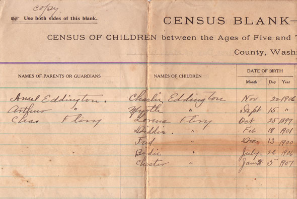 Arline Mills School Census - 1913 - page 2 - left