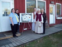 Left to right is Janet Anderson (President of New Sweden Centre) Elise Peters (Director of the Swedish Council of America Alexa Pierce-Matlack (Geo-caching/map project leader) Aleasa Hogate (NSC Education Director) and Susan Pierce (NSC treasurer and mother of Alexa Pierce)
