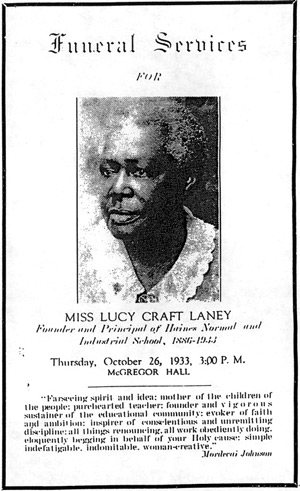 Lucy Craft Laney memorial card