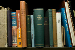 Books on Masons and Mormons on the shelves at the library at the Salt Lake Masonic Temple on South Temple. (Keith Johnson, Deseret News)