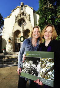 Valerie McAndrews of San Marino, left, co-author, with Cambria Smith of South Pasadena, oversaw the completion of the book Holy Family Church. (SGVN/staff photo by Walt Mancini)