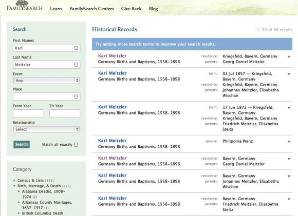 Karl Meitzler German Birth & Baptism index entries