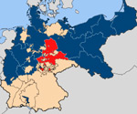 Saxony (red}, within the Kingdom of Prussia (blue), within the German Empire