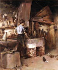 """The Apprentice Blacksmith,"" Theodore Robinson, oil on canvas, 1886. The bonds issued to seal a child's apprenticeship often provide a good source of genealogical information. Special to the Citizen-Times"