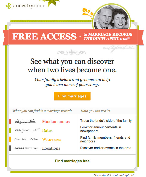 Free-Marriage-Access-Ancestry-Thru-Apr-21