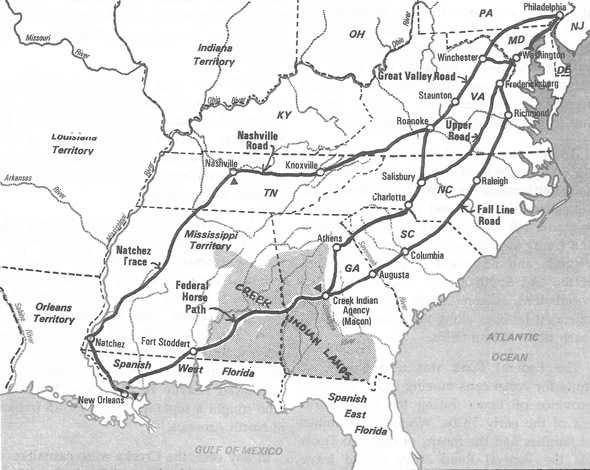 Roads from Philadelphia to New Orleans by 1806