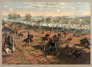 """Battle of Gettysburg"", L. Prang & Co. print of the painting ""Hancock at Gettysbug"" by Thure de Thulstrup, showing Pickett's Charge. Restoration by Adam Cuerden."