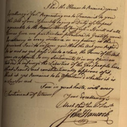 A Letter from John Hancock to Governor William Greene, dated December 16, 1782, which is now available for viewing thanks to the new State Archives Online Catalog.