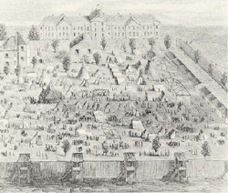 This drawing of Camp Asylum was done by one of the 500 Union Officers imprisoned in the camp that was hastily erected on the SC Lunatic Asylum grounds in October 1864.