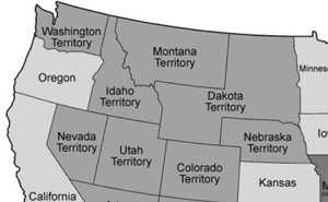 Idaho Territory (with a panhandle) after the creation of Montana Territory, and the expansion of Dakota Territory in 1864.