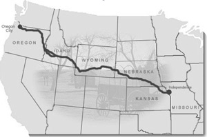 The Oregon Trail. Traditionally, the 2,000-mile-long wagon road began at Independence, Missouri and ended  at Oregon City, Oregon.
