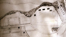 The cemetery appearsin the bottom right of this 1842 ByTown site plan. (Courtesy: ByTown Museum)