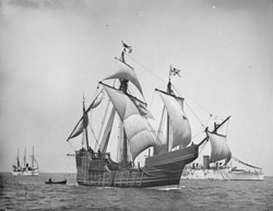 Library of Congress via Reuters -  A replica of Christopher Columbus's Santa Maria is shown in this circa 1892 photo. An explorer says a shipwreck he found off the north coast of Haiti could be the 500-year-old remains of the ship.