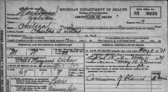 Michigan death certificates from 1921 to 1939 now available free charles a titus death certificate 585pw yadclub Images