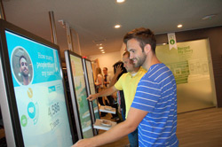 "At the Seattle Discovery Center in Bellevue, Washington, Trace Farmer of Seattle, Washington, discovers 4,586 people share his first name while using the ""Discover My Story"" experience."