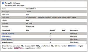 1915 New Jersey Census Index Search Result with Oswald Nelson as a Child