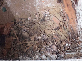 A large pile of disarticulated human skeletal remains was found under Washington Square Park by workers from a contractor with the New York City Department of Design and Construction, officials said on Wednesday, Nov. 4, 2015. Photo Credit: NYC Department of Design and Construction