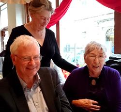 Patricia Moorhead (right) with AGI colleagues Michael Walsh and Máire Mac Conghail (AGI President).