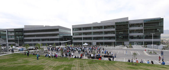 Tim Sullivan, CEO of Ancestry, speaks at the ribbon-cutting ceremony for the company's new headquarters in Lehi on Wednesday, June 22, 2016. (Kristin Murphy, Deseret News)