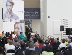 Thom Reed, a project manager for FamilySearch in Salt Lake City, talks about the Freedmen's Bureau Project at a news conference at the California African American Museum in Los Angeles on Friday, June 19, 2015. FamilySearch, the largest genealogy organization in the world, partnered with several African-American genealogy organizations on the project and launched discoverfreedmen.org. (LDS Church)